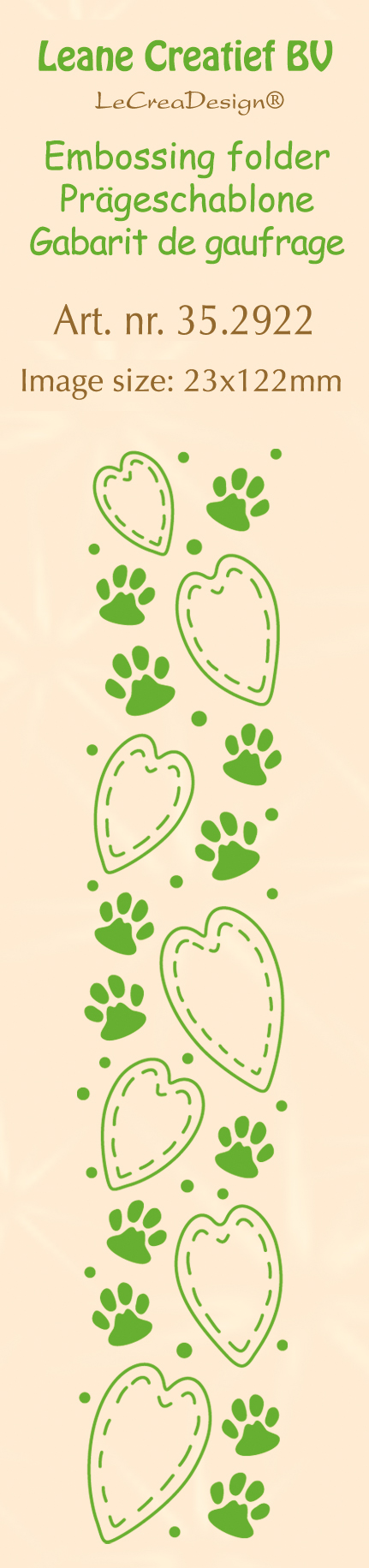 35.2922 Folder do embossingu Leane Creatief Border - Paws&hearts