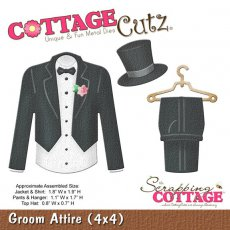 CC4x4-575 Wykrojnik CottageCutz Groom Attire (4x4)