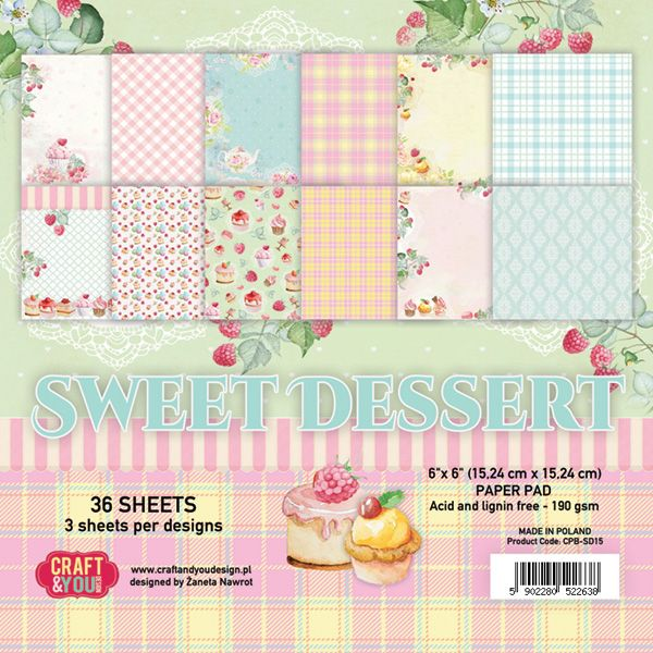 CPB-SD15 Bloczek 15x15 Craft & You Design -Sweet Dessert