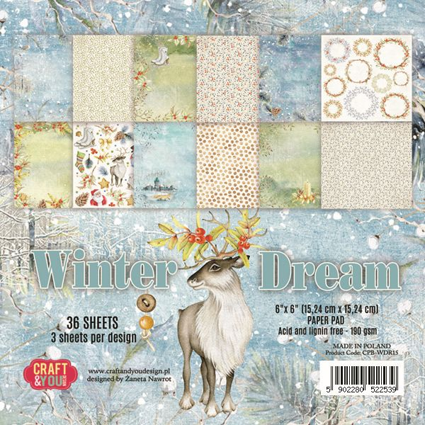 CPB-WDR15 Bloczek 15x15 Craft & You Design -Winter Dream