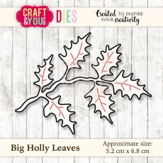 CW030 Wykrojnik Big Holly Leaves-gałązka ostrokrzew duża-Craft&You Design