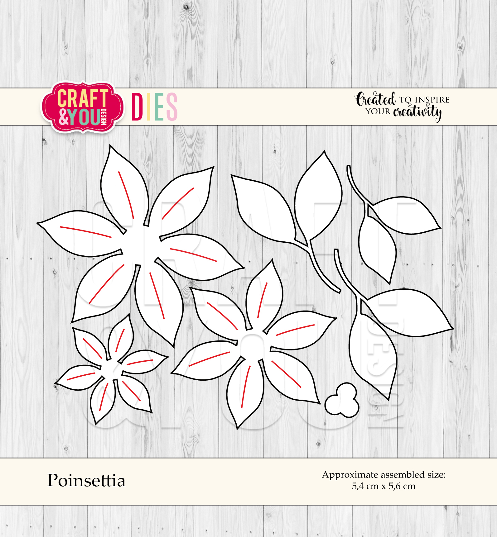 CW055 Wykrojnik  -Poinsettia- poinsencja Craft&You Design