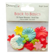 DCBL018 Papierowe kwiaty mix Dovecraft Back to Basics - Bright Spark Paper Blossoms