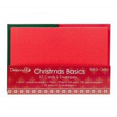 DCCAE007X15 Zestaw kart i kopert A7 - czerwone i zielone Dovecraft Christmas Basics
