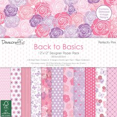 DCPAP061- Dovecraft - Zestaw papierów 30x30 Back to Basics-Perfectly Pink