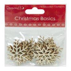 DCWDN006X15 Drewniane śnieżynki 16szt - Dovecraft Christmas Basics