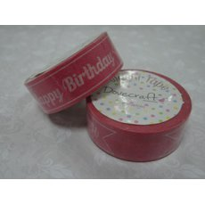 "DCWTB003-5 Washi tape- Różowa (jasna) tasiemka ""Happy Birthday"""
