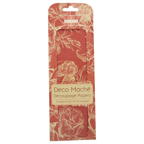 FEDEC004 First Edition Deco Maché - Red Roses-papier do decoupage\'u