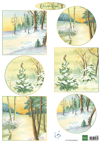 IT606 Arkusz A4 -Marianne Design - Tiny\'s winter wood