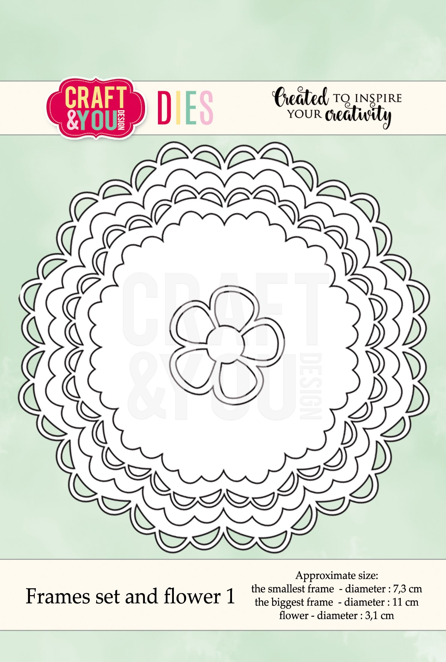 CW041 Wykrojnik -Frames set and flower 1-ramki i kwiatek -Craft&You Design