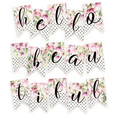 P13-216 Papierowy banerek / die cut Hello Beautiful