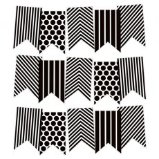 P13-241 Banerek / Die cut Black and White