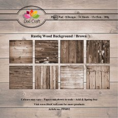 PP0092 Zestaw papierów 15x15cm Dixi Craft- Rustiq Wood Background/Brown