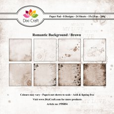PP0094 Zestaw papierów 15x15cm Dixi Craft- Romantic Background/Brown