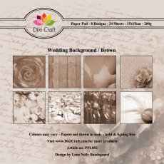PPL002 Zestaw papierów 15x15cm Dixi Craft- Wedding Background/Brown