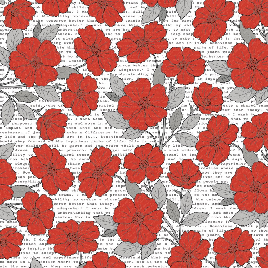 TCSN1003 Papier dwustronny 30,5 x 30,5 cm Poppies - Stationery Noted Teresa Collins