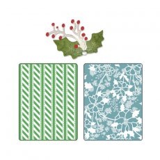 658191 Foldery do embossingu wzór i kwiaty Alpine + sizzilits Holly&Berries#6