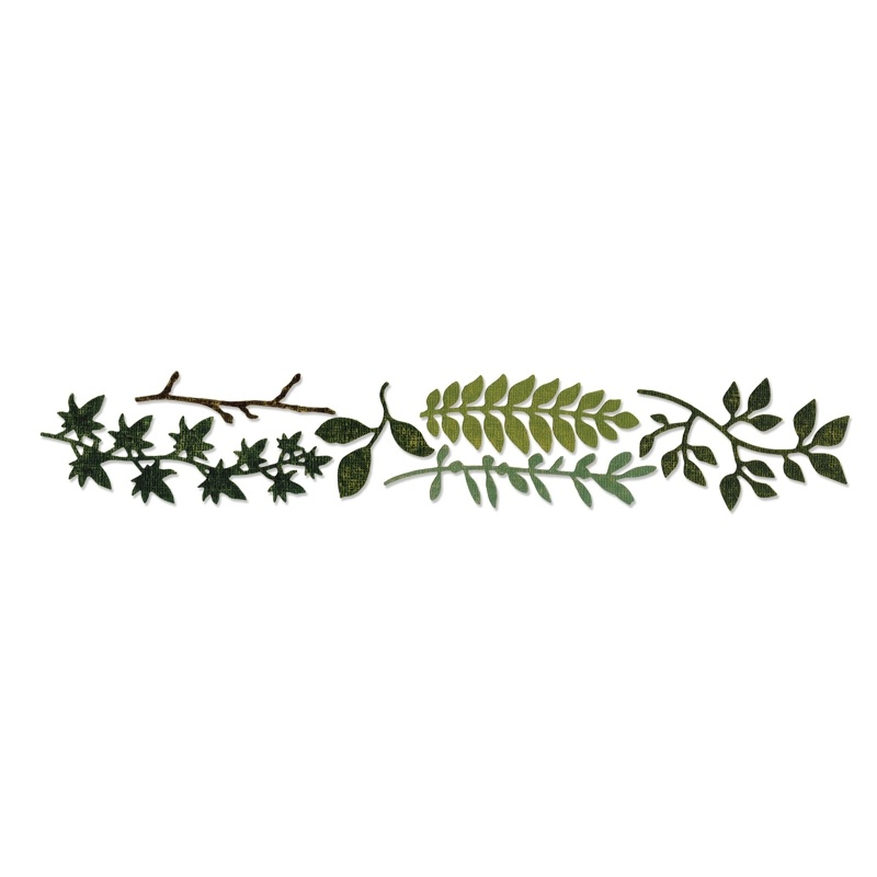 659573 Wykrojnik Sizzlits Decorative Strip Die - Spring Greenery
