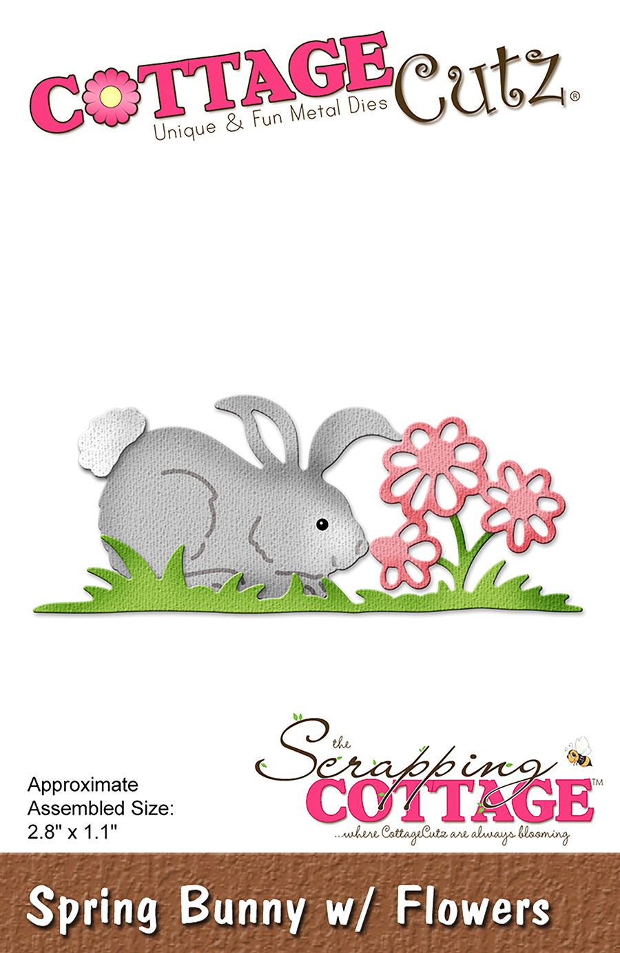 CC-240 Wykrojniki CottageCutz Spring Bunny With Flowers