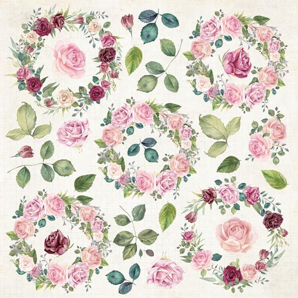 CP-FV07 Papier jednostr.-elementy-30,5x30,5 Flower Vibes