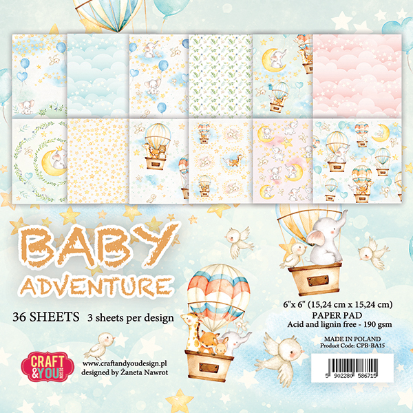 CPB-BA15 Блок 15x15 Craft & You Design-Baby Adventure