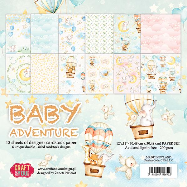 CPS-BA30 Набор бумаги 30,5x30,5см-Craft & You Design-Baby Adventure