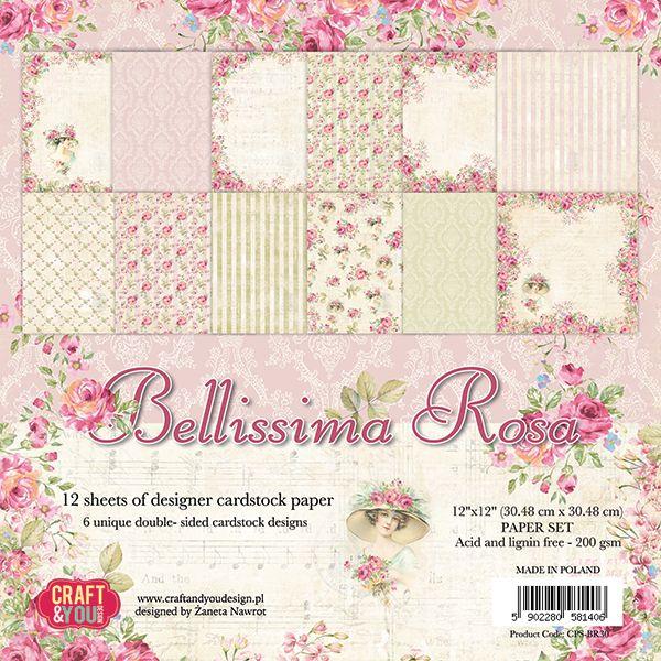 CPS-BR30 Zestaw papierów 30,5x30,5 cm Craft&You Design-Bellissima Rosa