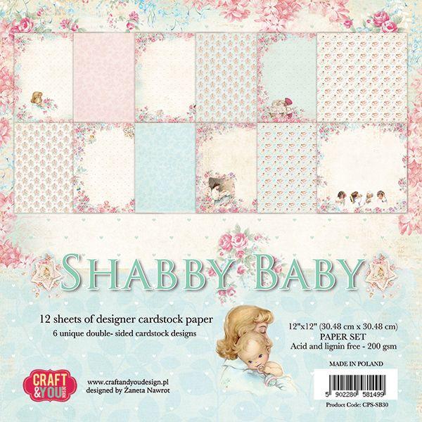 CPS-SB30 Zestaw papierów 30,5x30,5 cm Craft&You Design-Shabby Baby