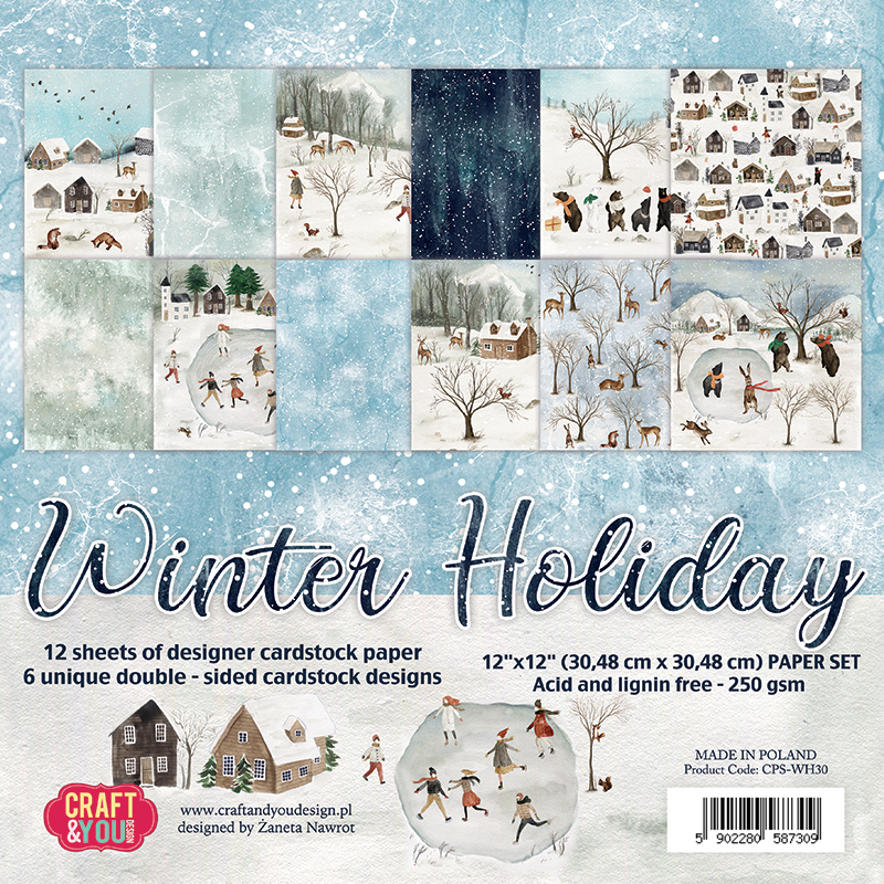 CPS-WH30 Zestaw papierów 30,5x30,5cm-Craft&You Design-WINTER HOLIDAY