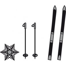 CR1252 Wykrojniki Craftables - Skis and Snowflake