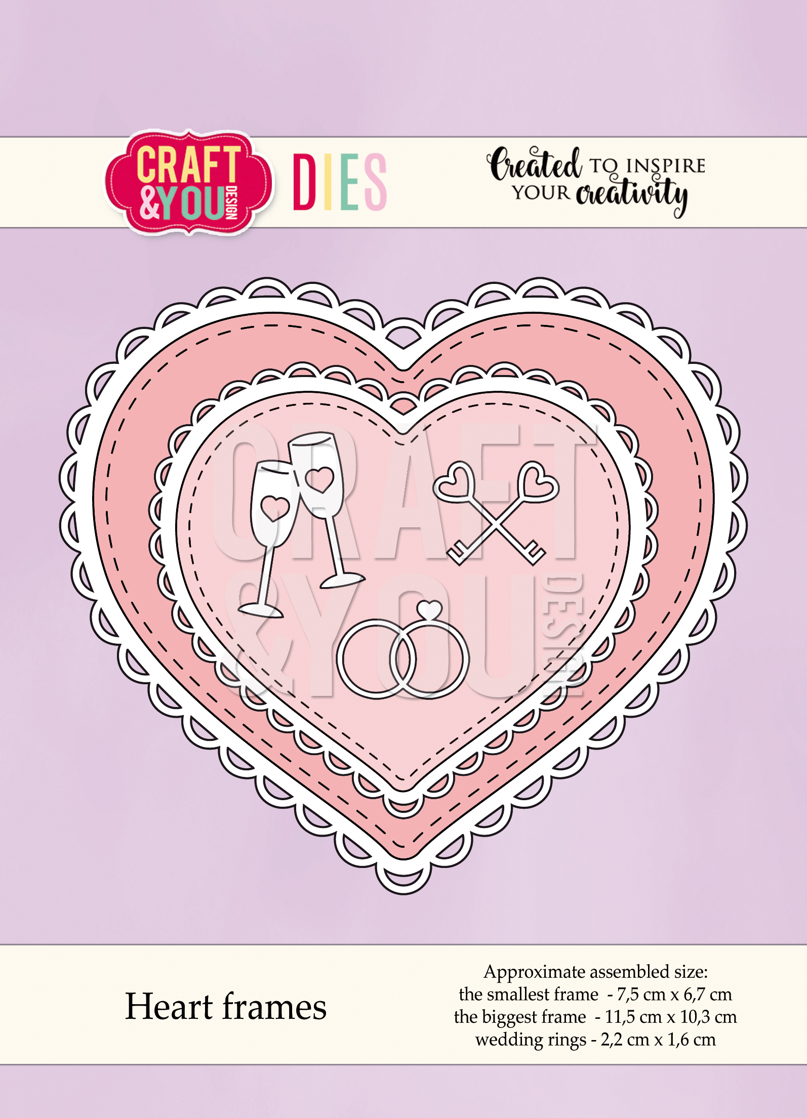 CW051 Wykrojnik  -Heart frames-ramki serca Craft&You Design