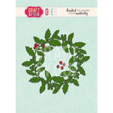 CW090 WYKROJNIK -Holly wreath-wianek ostrokrzew Craft&You Design