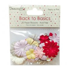 DCBL019 Kwiaty papierowe mix Dovecraft Back to Basics - Pretty In Pink Paper Blossoms