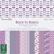 DCPAP030 - Dovecraft - Zestaw papierów 15x15 Back to Basics- Berry Blush