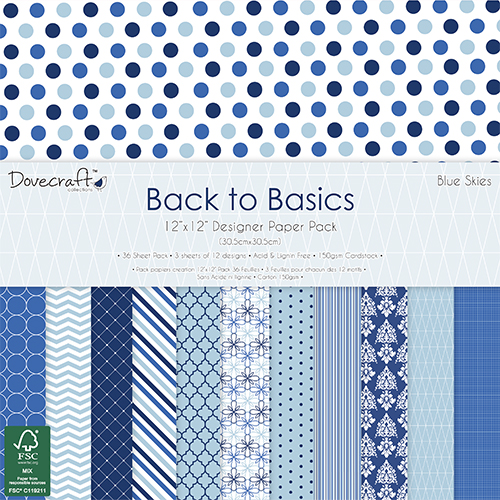 DCPAP031- Dovecraft - Zestaw papierów 30x30 Back to Basics-Blue Skies