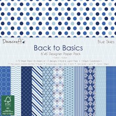 DCPAP033 - Dovecraft - Zestaw papierów 15x15 Back to Basics- Blue Skies