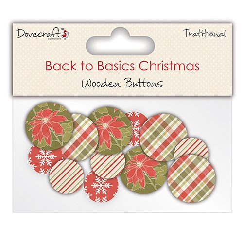 DCXWB001 Guziki drewniane- Back to Basics Christmas Traditional 2014