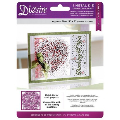 DS-CAD-HEART Wykrojniki  Die'sire Create a Card-Floral Lace Heart