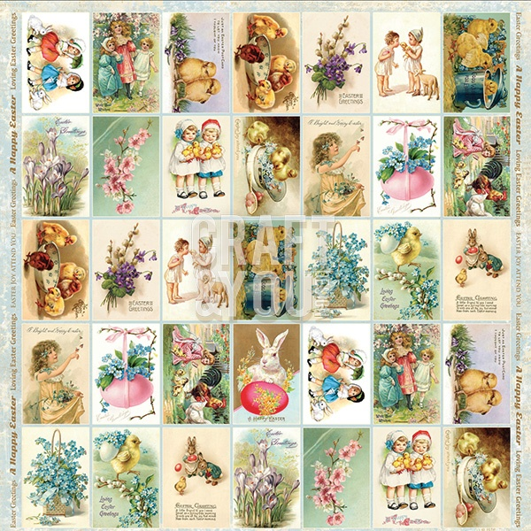 "CP-EG07 Papier 12x12""jednostr.-elementy- Easter Greetings 07"