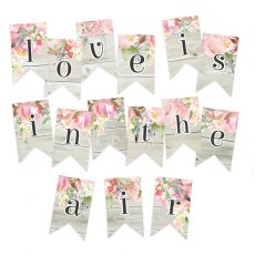 P13-262 Papierowy banerek / die cut Love in Bloom