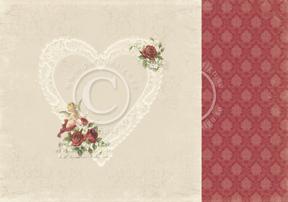 PD6801 Papier dwustronny 30,5x30,5cm-To my Valentine-In my heart