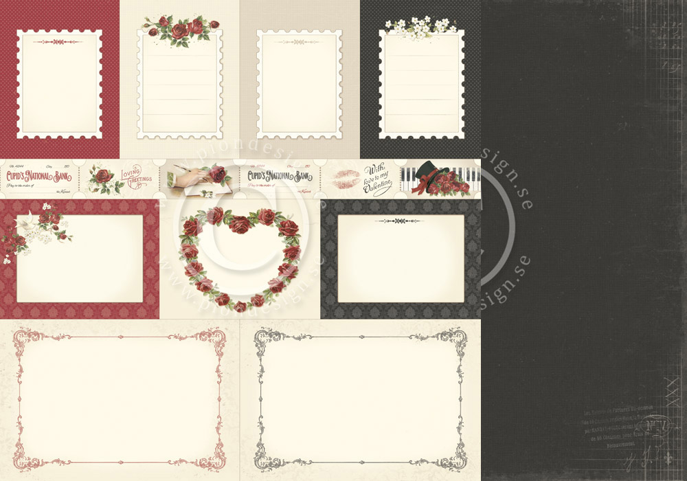 PD6811 Papier dwustronny 30,5x30,5cm-To my Valentine-Memory notes
