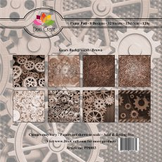 PP0083 Zestaw papierów 15x15cm Dixi Craft- Gears Background - Brown